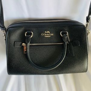 COACH Black Leather Satchel with Silver Hardware